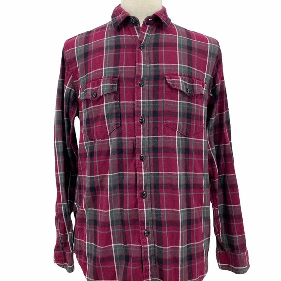 J.Crew Sportsmen's Outfitter Red Black Plaid Button Up Long Sleeve Shirt Men's M